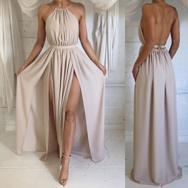 Chiffon Halter Neck Backless Prom Dress Simple A-Line Floor Length Evening Dress